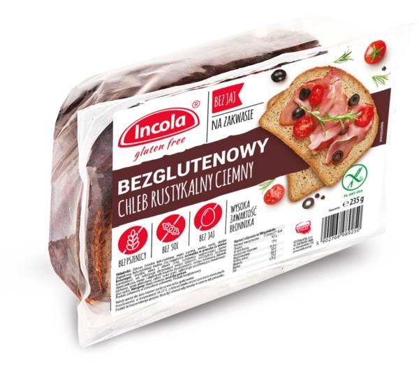 Bezglutenowy chleb rustykalny ciemny INCOLA