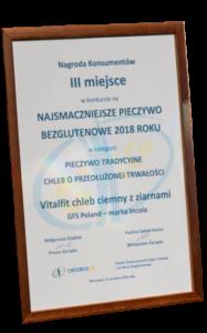 III miejsce w konkursie na Najsmaczniejsze pieczywo bezglutenowe 2018