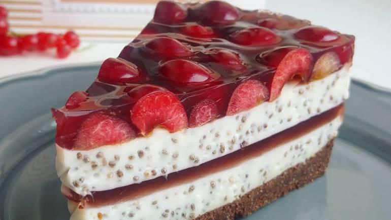 Bezglutenowe ciasto czekoladowe z czereśniami – bez pieczenia