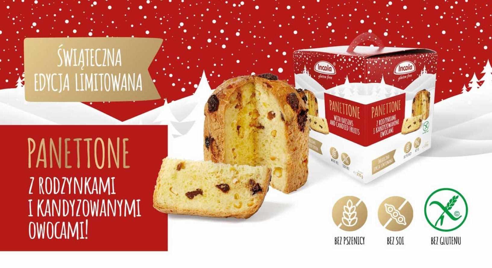 Świąteczna edycja limitowana Incola Panettone z rodzynkami kandyzowanymi i owocami