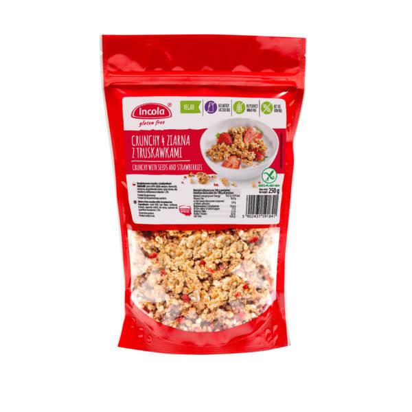 Bezglutenowe crunchy 4 ziarna z truskawkami 250 g - INCOLA