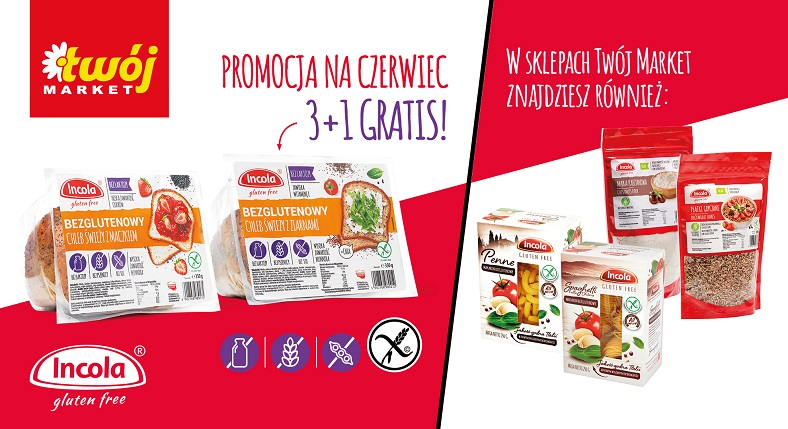 Bezglutenowe produkty Incola w sklepach Twój Market