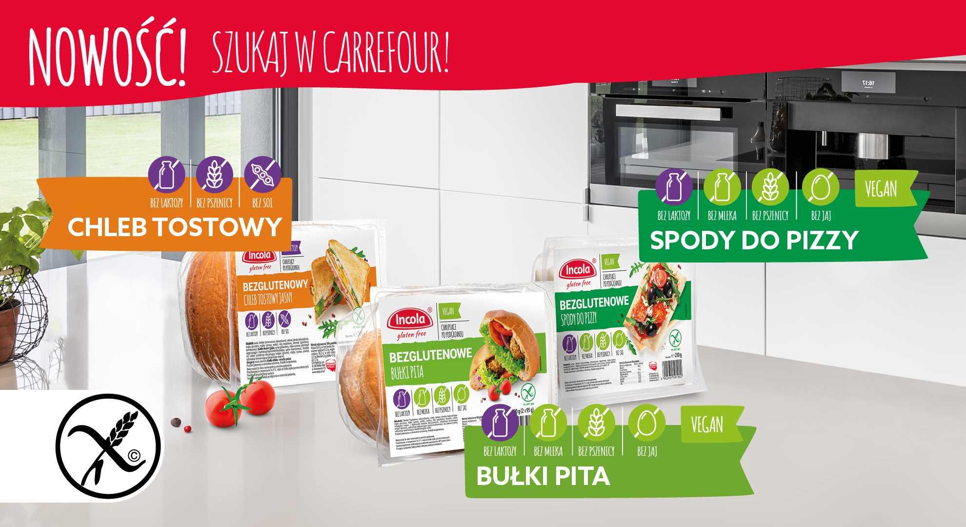 Bułki Pita, chleb tostowy - Promoca Carrefour - Incola