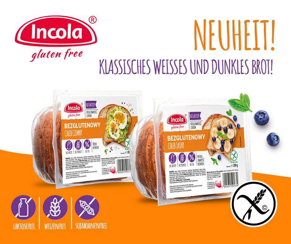 Neues tägliches incola-brot – glutenfreies weisses und dunkles brot