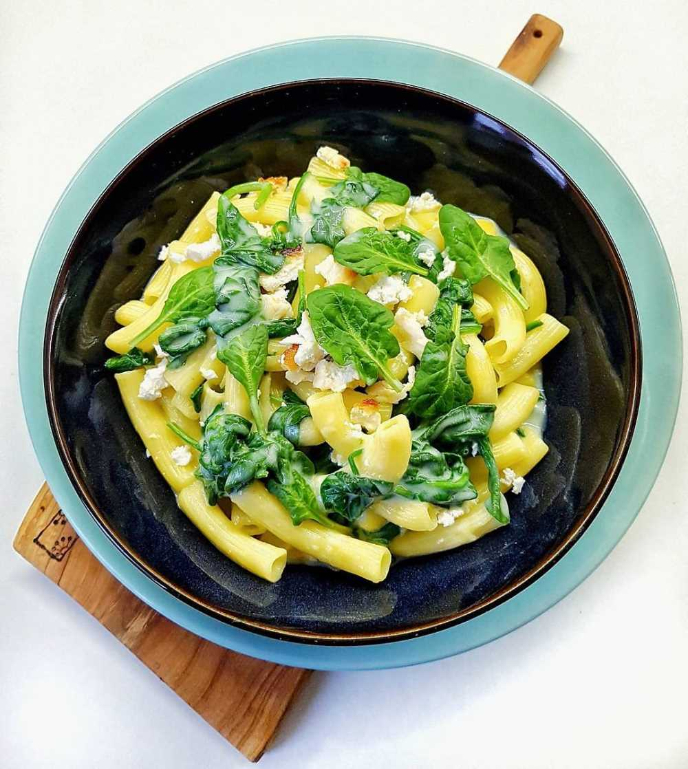 Gluten-free pasta with baked ricotta and spinach