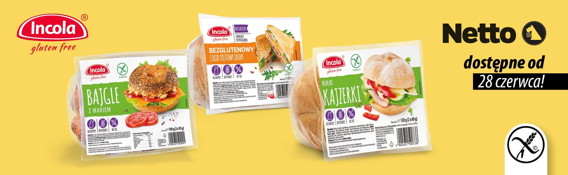 Bezglutenowe produkty Incola w sklepach Netto